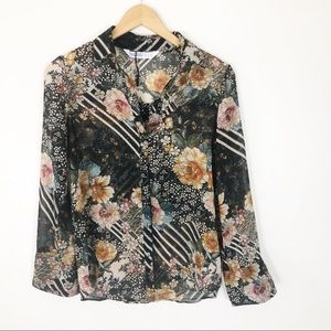 Zara Floral button up blouse